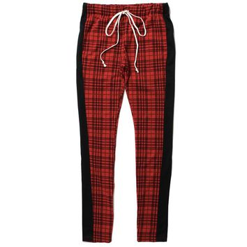 Jacquard Plaid Track Pants Red / Black