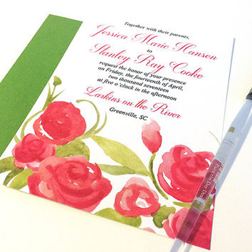 "Watercolor Wedding Invitation Card - Garden Wedding Invitation ""Summer Blooms"" Watercolour Wedding Invite - Shabby Chic Wedding Invitation"