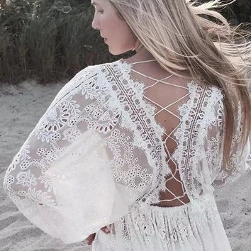 freeshipping vintage summer dress women 2017chiffon and lace embroidery brief white lantern sleeve sexy loose women party dress
