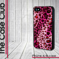 Pink Cheetah Fur Fuzzy Print Faux Leopard Skin - iPhone 4 Case - iPhone 4s Case - iPhone 4 cover  skin Plastic - NOT REALLY FURRY