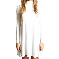 Off White Piko Turtleneck Swing Dress