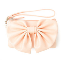 Old Town Peach Metallic Faux Leather Wristlet with Bow Front