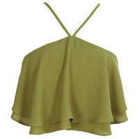 Olive Green Chiffon Layered Ruffle Halter Top