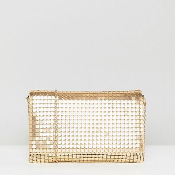 ASOS Oversize Matte Chainmail Foldover Clutch Bag at asos.com