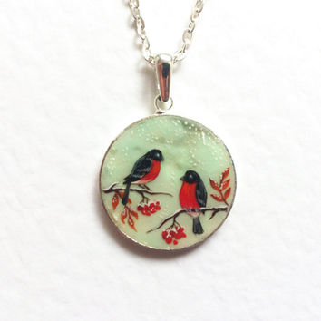 Hand painted pendant Bullfinches birds pet lover teal
