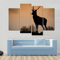 Deer Stag Silhouetted On Mountain Ridge Canvas