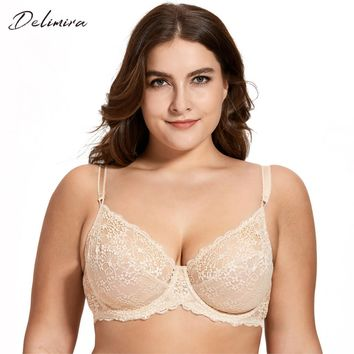 c728782518 Delimira Women s Full Coverage Underwired Non Padding Breathable Balconette  Sheer Floral Lace Bra Plus Size