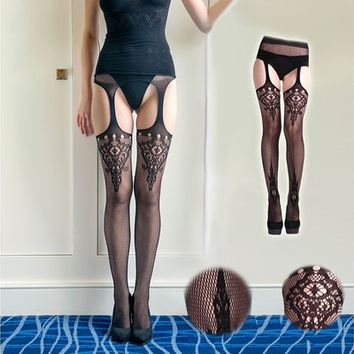 Fashion Sexy Ladies Black Lace Thigh-Highs and Leggings Stockings Garter Belt Socks (Color: Black) [8270426241]