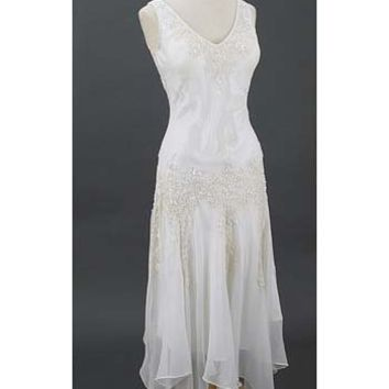 20s Inspired Wedding Dress-Handkerchief Hem Dresses