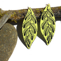Fern leaf earrings painted wood light yellow green and black on silver colored earring hooks wood jewelry