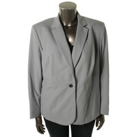 Jones New York Womens Plus Emma Lined Fitted One-Button Blazer