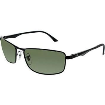 Ray-Ban Men's Polarized Active RB3498-002/9A-61 Black Rectangle Sunglasses