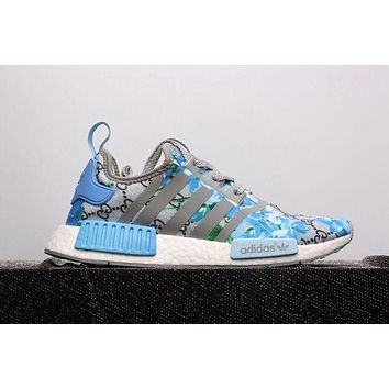 Adidas NMD X GUCCI Trending Women Men Casual Print Running Sports Shoes Sneakers Blue I