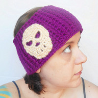 Skull Ear Warmer Headband in Berry, ready to ship.