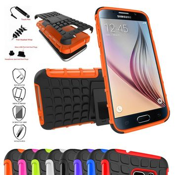 Galaxy S7 Case,Mama Mouth Shockproof Heavy Duty Combo Hybrid Rugged Dual Layer Grip Cover with Kickstand For Samsung Galaxy S7 SM-G930F Smartphone 2016(With 4 in 1 Free Gift Packaged),Orange
