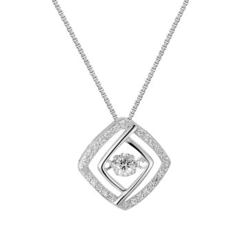 Silver Dazzling Solitaire Cushion Cut Iced Out Charm Pendant Free Necklace
