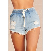 Nadia Drawstring Shorts (Bleached Denim)