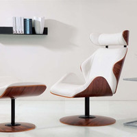 Mid Century Star Lounge chair and ottoman White