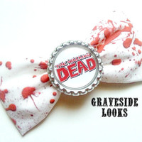 Blood Splattered The Walking Dead HorrorPunk Fabric Bow
