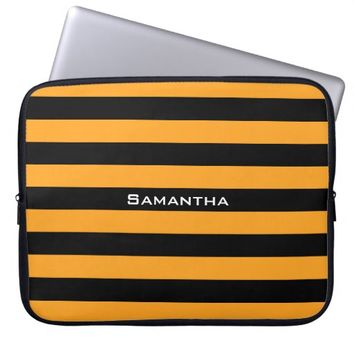 Black and orange stripes pattern laptop sleeve
