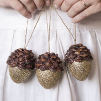Acorn Ornaments, Gold Shimmer, Rustic Wooodland Decor - Set of 3