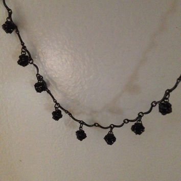 Marianna Black Austrian Crystal Necklace Fashion Jewelry USA  16 Inch Vintage