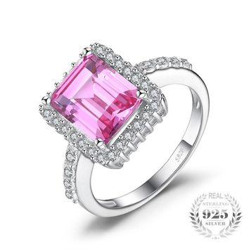 4.16ct Created Pink Sapphire Sterling Silver Cocktail Ring