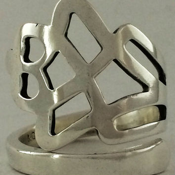 Size 8.5 Vintage Sterling Silver Spoon Ring