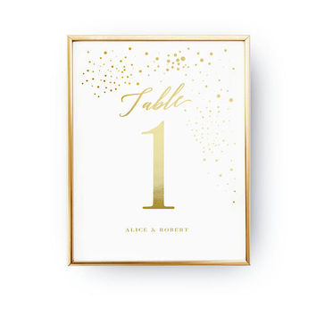 Table Number Dots, Wedding Decoration, Wedding Signs, Real Gold Foil Print,Wedding Print,Gold Foil Sign Wedding, Wedding Decor, Table Decor