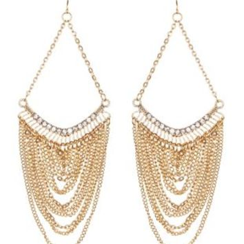 Gold Draped Chain & Rhinestone Statement Earrings by Charlotte Russe