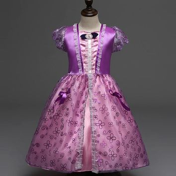 High Quality Girls Party Dresses Kids Summer Princess Dresses for Girls Rapunzel Belle Cosplay Costume Wedding Dresses