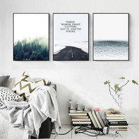 Nordic Seaside Forest Landscape Canvas Painting Poster Decoration Wall Pictures for Living Room Home Decor Unframed