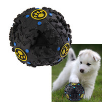 7.5cm Funny Pet Food Dispenser Toy Ball Dog Cat Play Squeaky Squeaker Quack Sound Training Toy Chew Ball
