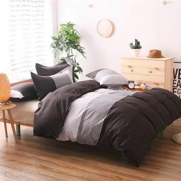 Brief Stripe Printing Duvet Cover Set 3pcs Bed Set Twin Double Queen size Bed linen Bedclothes bedding sets(No Sheet No Filling)