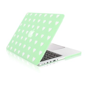 """Green Heart Shape Design Ultra Slim Light Weight  Hard Case Cover for Apple MacBook Pro 13.3"""" with Retina Display Model: A1425 and A1502"""