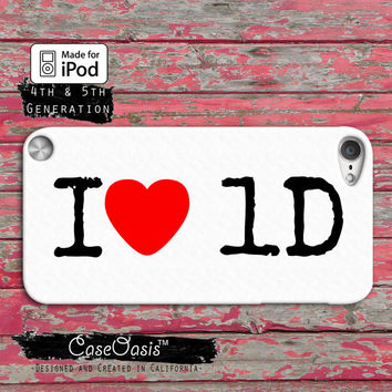 I Heart One Direction 1D Directioners Cute Heart Custom Case iPod Touch 4th Generation or iPod Touch 5th Generation Rubber or Plastic Case
