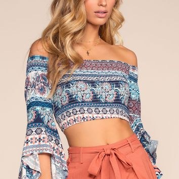 Love Triangle Floral Off The Shoulder Crop Top - Blue