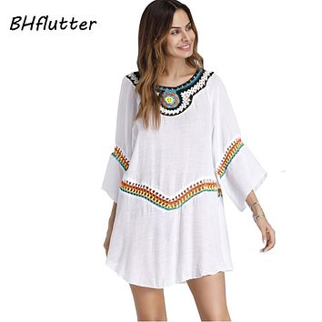 BHflutter Embroidery Summer Dress Women 2018 New Arrival Half Sleeve Casual Loose Shift Dress Cotton Linen White Dresses Vestido
