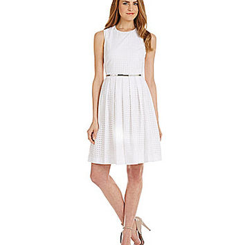 Calvin Klein Eyelet Fit-and-Flare Dress - White