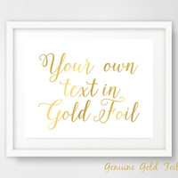 Custom Gold Foil Sign Gold Foil Art Gold Foil Print Anniversary Gift Wedding Decoration GF-007 CF