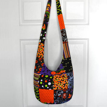 Hobo Bag Crossbody Bag Sling Bag Hippie Purse Boho Bag Halloween Patchwork Hobo Bag Fabric Purse Hippie Bag Hobo Purse Halloween Handmade