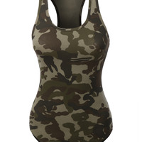 LE3NO Womens Camo Print Scoop Neck Sleeveless Bodysuit