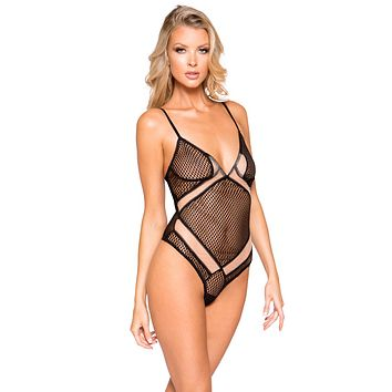 Sexy Temptation Sheer and Mesh Two-Tone Crossover Bodysuit