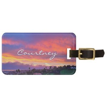 Yellow pink sunrise photo custom name luggage tag