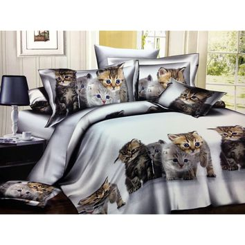Children 3D Cats pattern(There are Multiple repetition patterns like the picture) Bedding Sets 3/4pcs Bed Set Duvet cover Bed sh