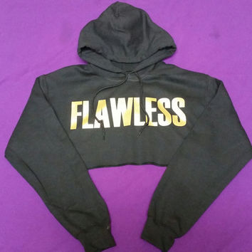FLAWLESS Cropped Hoodie Gold Writing