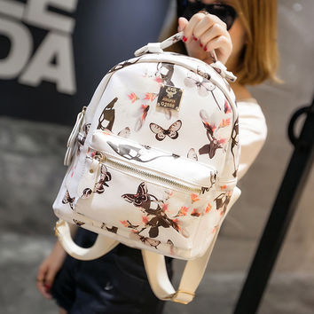 College Hot Deal On Sale Stylish Casual Back To School Comfort Korean Print Waterproof Nylon Leather Backpack [8384136391]