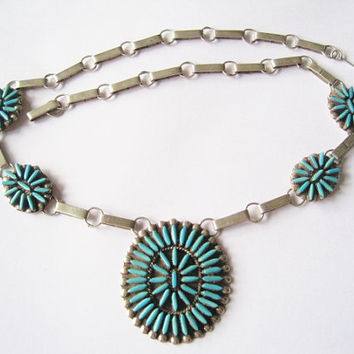 Needlepoint Turquoise Necklace DJ Ghahate Handmade Zuni Sterling Silver