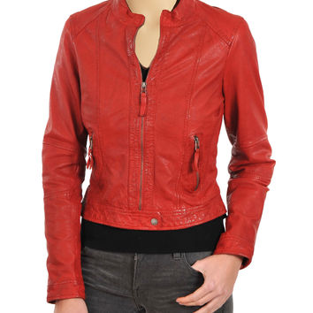 Women's Red moto style leather jacket