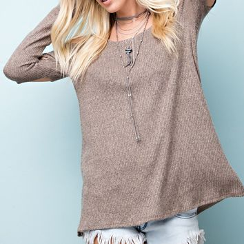 Brushed Two-Toned Ribbed Cold Shoulder Khaki